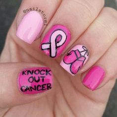 Cancer pink ribbon boxing gloves knock out nails