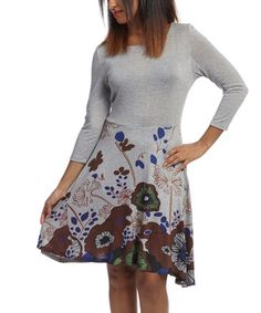 Gray & Brown Floral Sidetail Dress - Women by Citi Life #zulily #zulilyfinds