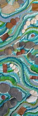 Mosaic with sea glass, stones and glass mosaic