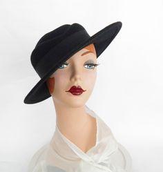 Black vintage tilt hat, heart shaped crown. Arlin by TheVintageHatShop on Etsy