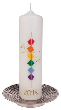 Osterkerze - Kreuz gold & Alpha Omega