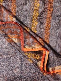 Multi-Color Kota Silk-Tussar Silk Kalamkari Handblock Printed Dupatta