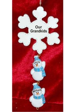 f5fe6bea7b292 Frosty Snowflake for 2 Grandkids - Personalized Family Christmas Ornament  Family Christmas Ornaments
