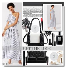 """""""Flounce One Shoulder Polka Dot Dress"""" by fashiondiary5 ❤ liked on Polyvore featuring MAC Cosmetics, Armen Living, Christian Dior, Forever 21 and shein"""