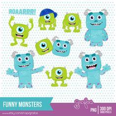 FUNNY MONSTERS Digital Clipart,  Monster Digital Clipart, Monsters Clip Art  / Instant Download via Etsy