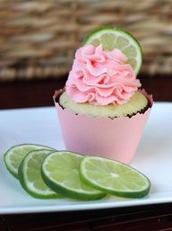 Strawberry Lime Cupcakes - The frosting on these is the best!  Id figure out a way to add more lime flavor, and maybe even add a drop or two of green food coloring just for fun.  Its a dense, moist cake - and its pretty good too! :)