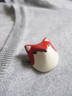 Red fox brooch totem  miniature woodland animal  by aplusdesignnn