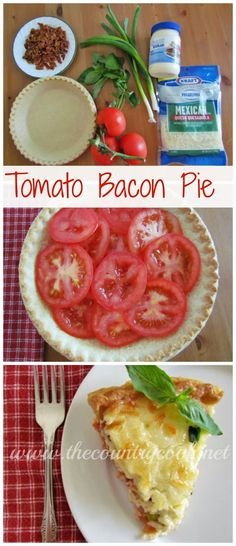 Tomato and Bacon Pie Country Tomato & Bacon Pie {ripe tomatoes, gooey cheese, crispy bacon. Pork Recipes, Great Recipes, Cooking Recipes, Favorite Recipes, Healthy Recipes, Recipies, Simple Recipes, Bacon Pie, Lard