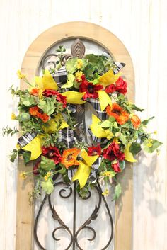Spring Wreath with Red Poppy's and Ribbon