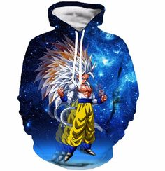 Super Saiyan 5 Goku SSJ5 Space Galaxy 3D Blue Fashion Hoodie