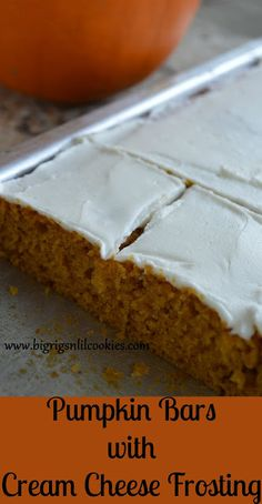 Big Rigs 'n Lil' Cookies: Pumpkin Bars with Cream Cheese Frosting Pumpkin Recipes, Fall Recipes, Vegan Recipes, Fun Desserts, Dessert Recipes, Awesome Desserts, Southern Pound Cake, Peanut Butter Fingers, Fresh Apple Cake