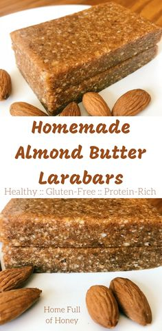 Homemade Almond Butter Larabars is part of Homemade Almond Butter Larabars Home Full Of Honey - A fast and easy recipe for healthy Homemade Almond Butter Larabars full of protein, fiber and nutrients Healthy Protein Snacks, Vegan Snacks, Protein Bars, High Protein, Healthy Foods, Agaves, Yogurt, Homemade Almond Butter, Almond Butter Snacks