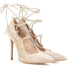 Gianvito Rossi Femì Lace-Up Suede Pumps ($730) ❤ liked on Polyvore featuring shoes, pumps, heels, sapatos, grey, lace up shoes, gianvito rossi pumps, grey suede pumps, grey suede shoes and grey heel shoes