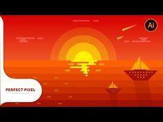 Illustrator Tutorials | Sunset Scenery - YouTube Graphic Design Trends, Graphic Design Tutorials, Graphic Design Inspiration, Inkscape Tutorials, Art Tutorials, Illustrator Tutorials For Beginners, Icon Design, Design Design, Design Ideas