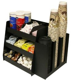 2 Piece Combo Coffee Condiment Organizer And A 3 Column Cup and Lid Holder...for One Great Price ! A Very Professional Coffee Program Presentation. Comes with 6 Extra Tall Shelf Dividers that are Movable & Removable. Proudly Made in the USA! by PPM. Plastic & Products Marketing http://www.amazon.com/dp/B0081H2IYA/ref=cm_sw_r_pi_dp_uK19tb0Y39DZX