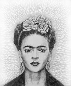 Frida Kahlo. Art history, graphite, pencil, drawing.
