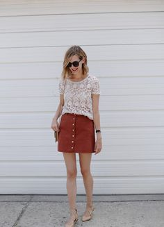 lace tee, rust skirt, wrap flats