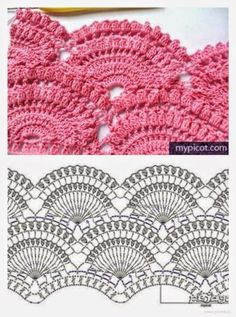 Marvelous Crochet A Shell Stitch Purse Bag Ideas. Wonderful Crochet A Shell Stitch Purse Bag Ideas. Crochet Lace Edging, Crochet Motifs, Crochet Borders, Crochet Diagram, Crochet Stitches Patterns, Crochet Chart, Stitch Patterns, Knitting Patterns, Crochet Top