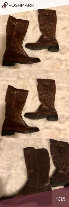 Brown Leather Riding Boots Brown leather riding boots with a slight heel (see pictures). They have a beautiful design on the side and a full zipper. Perfect staple boots for every season. These boots are gently used with a few marks (as seen in pictures). Shoes
