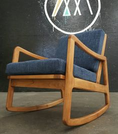 Custom built to order solid beech rocker with your choice of stain and fabric.