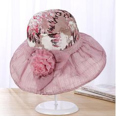 Women Summer Elegant Velvet Flowers Inkjet Wide Brim Floppy Bucket Hat  Outdoor Sunscreen Fashion Cap Summer 00b0cef320a1