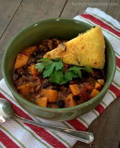 Turkey Chili with Yams & Black Beans recipe at www.farmgirlgourmet.com