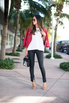 3d340a4c99a6a Aimee Song :: Cotton On tee, Rebecca Minkoff Moto Studded Leather Jacket,  Cotton On Zippy Coated jeans, Isabel Marant sandals, Phillip Lim Mini  Pashli ...