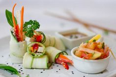 Veggie Rolls with Coconut 'Rice' and Sweet Papaya Salad