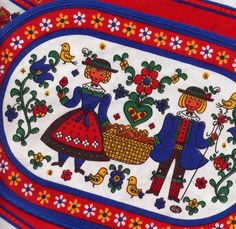 Vintage Kolf of Austria 2 Place Mats and Doily Bright Red and Blue Folk Art Style Primitive Kitchen