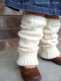 Adorable. Girl's legwarmers from sweater....very resourceful.  Must make!