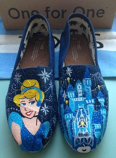 Cinderella Disney Toms by PaintedSlippers on Etsy, $100.00