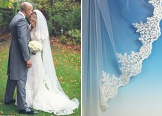Katie Piper wore a stunning lace edge veil, get a look like this with our veil C455A.