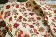 ME WANT.    Vintage  Reds Floral Cloth Napkins made from Vintage Fabrics, Set of 4 by Dot and Army. $18.00, via Etsy.