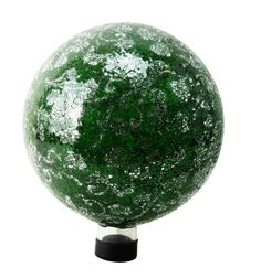Com 10 in mosaic gazing ball in green and silver garden stakes