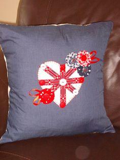 Hand Sewn Union Jack Cushion Cover by Blandsgill on Etsy, £15.00