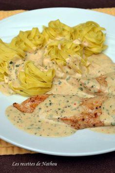Les recettes de Nathou: Escalopes de poulet, sauce crémeuse citronnée à l'estragon, persil et ciboulette...