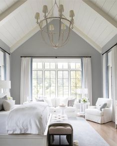 white french inspired master bedroom