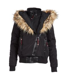 Canada Weather Gear Black & Natural Faux Fur-Trim Bomber   zulily