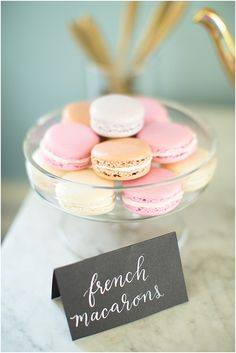 French macarons  | Image by Poly Mendes Photography, see more http://www.frenchweddingstyle.com/pretty-parisian-wedding-inspiration/