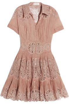Zimmermann - Winsome Cotton-gauze And Lace Mini Dress - Antique rose - 2