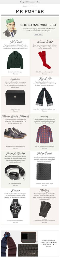 I'm a big fan of creating value added email content by interviewing staff members. Here's a great example from Mr Porter. Holiday Emails, Christmas Themes, Merry Christmas, E-mail Marketing, Email Campaign, Mr Porter, Email Design, Happy Holidays, Landing