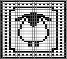 Sheep Chart for Washcloth pattern by Tammy Sanders Be cute in different colors for a knitter or crocheter. Sheep Chart for Washcloth by Tammy Sanders. Filet Crochet, Crochet Chart, Knitting Charts, Knitting Stitches, Knitting Patterns, Crochet Patterns, Cross Stitch Charts, Cross Stitch Patterns, Pixel Art Animals