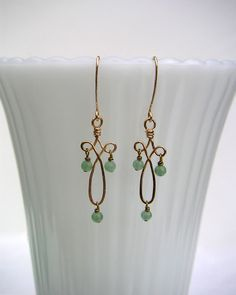 Hammered Wire Wrapped Gold Filagree & Green Aventurine Earrings - Wire Jewelry. $55.00, via Etsy.