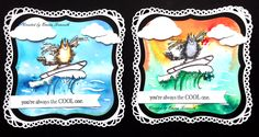 Fun birthday cards, penny black surfing cat stamp, brusho backgrounds, spellbinders grand labels 1