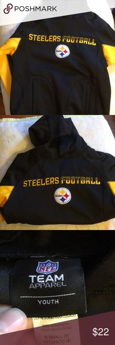 NFL NWOT Youth Small Pittsburgh Steelers Pullover NWOT Never worn Pittsburgh Steelers Youth Small Team Apparel Sweatshirt has built in pockets and hood . NFL Apparel Shirts & Tops Sweatshirts & Hoodies