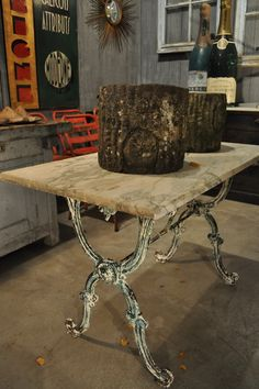 Antique French Garden Bistro Table with Green Iron Base and Marble Top