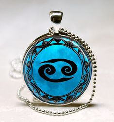 Cancer Blue Moon Zodiac Symbol Pendant, Cancer Zodiac Necklace Astrology Horoscope Jewelry Necklace Pendant (PD0461)