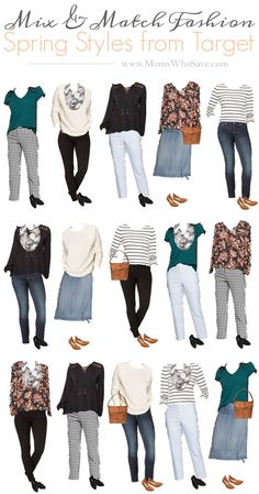 Mix & Match Fashion - An Affordable Spring Capsule Wardrobe - WordPress Sitesi Mix And Match Fashion, Matches Fashion, Mix Match Outfits, Matching Outfits, Mix And Match Clothes, Work Clothes, Target Clothes, Target Outfits, Capsule Wardrobe Work