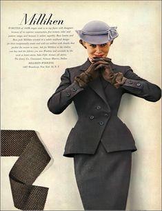 1951 (Aug.) Bass Levine & Bass wool worsted suit worn by Nina de Voogt in Milliken's Woolens ad, hat by John Frederics, Harper's Bazaar