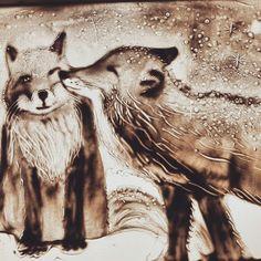 Foxes love, рисование песком, песочная анимация, любовь, животные, лисы